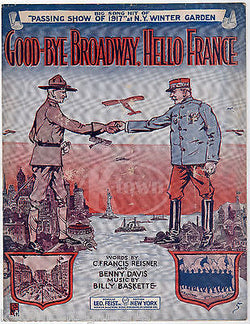 GOODBYE BROADWAY HELLO FRANCE ANTIQUE WWI GRAPHIC ILLUSTRATED SHEET MUSIC 1912 - K-townConsignments