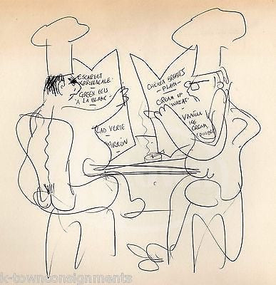 HAL GEORGE THEATRE COSTUME DESIGNER ORIGINAL DINNER MENU HUMOR CARTOON SKETCH - K-townConsignments