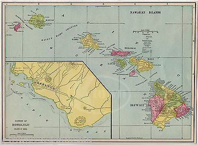 HONOLULU HAWAIIAN ISLANDS COLOR MAP ANTIQUE GRAPHIC ILLUSTRATION PRINT 1899 - K-townConsignments