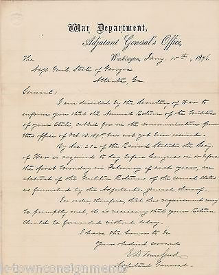 EDWARD TOWNSEND UNION CIVIL WAR OFFICER AUTOGRAPH SIGNED WAR DEPT LETTER 1876 - K-townConsignments