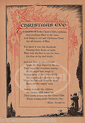 Christmas Eve Poem.Christmas Eve Angles Poem Antique Nursery Rhyme Graphic Illustration Print