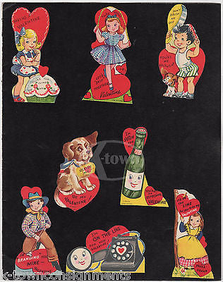 CUTE GIRLS BOYS SODA POP & MORE VINTAGE VALENTINE'S DAY CARDS SALES DISPLAY - K-townConsignments
