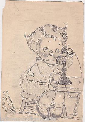 CAMPBELL'S SOUP GIRL TELEPHONE CALL VINTAGE SIGNED PENCIL SKETCH ADVERTISING ART - K-townConsignments