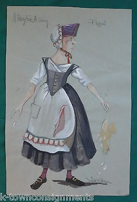 LADY PIPPIN A PENNY FOR A SONG THEATRE COSTUME DESIGN SKETCH PAINTING SIGNED - K-townConsignments