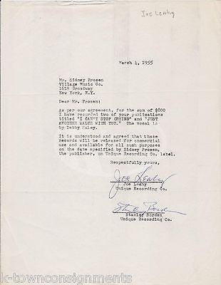 JOE LEAHY MUSIC PRODUCER TRUMPETER VINTAGE AUTOGRAPH SIGNED MUSIC CONTRACT 1955 - K-townConsignments