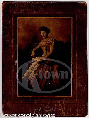 LOVELY SCHOOL TEACHER IN FINE DRESS ON CARVED BENCH ANTIQUE PHOTO ON BOARD - K-townConsignments