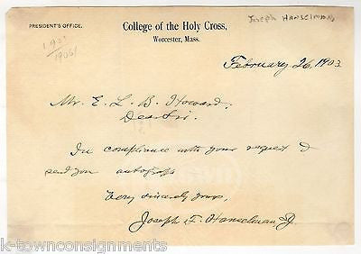 JOSEPH HANSELMAN HOLY CROSS COLLEGE ANTIQUE AUTOGRAPH SIGNED STATIONERY LETTER - K-townConsignments