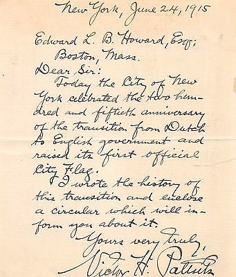 VICTOR HUGO PALTSITS NEW YORK HISTORIAN & ARCHIVIST AUTOGRAPH SIGNED LETTER 1915 - K-townConsignments
