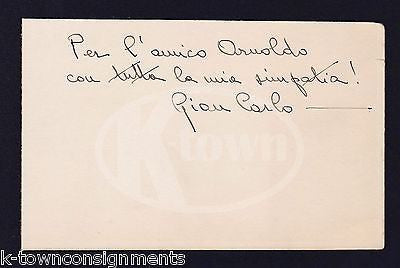 GIAN CARLO ITALIAN AMERICAN MUSIC COMPOSER ANTIQUE AUTOGRAPH SIGNATURE ON BOARD - K-townConsignments