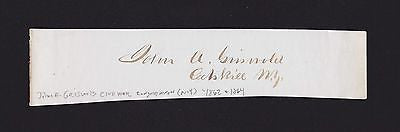 JOHN GRISWOLD CIVIL WAR CONGRESS NEW YORK ORIGINAL ANTIQUE AUTOGRAPH SIGNATURE - K-townConsignments