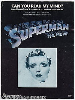 SUPERMAN MOVIE SHEET MUSIC CAN YOU READ MY MIND? SONG VINTAGE WARNER BROS 1978 - K-townConsignments