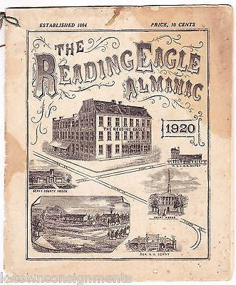 READING EAGLE PENNSYLVANIA ANTIQUE GRAPHIC ENGRAVING NEWSPAPER ALMANAC BOOK 1920 - K-townConsignments