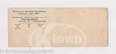 TEDDY ROOSEVELT 1904 REPUBLICAN NATIONAL CONVENTION ORIGINAL TICKET ENVELOPE - K-townConsignments