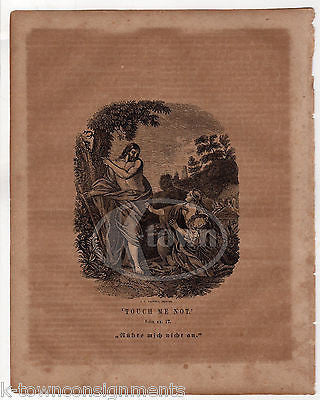 JOHN 20:17 TOUCH ME NOT JESUS HEALS A WOMAN ANTIQUE BIBLE ENGRAVIGN PRINT 1829 - K-townConsignments