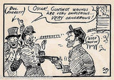 CIVIL WAR GUN PLAY HUMOR ORIGINAL ART INK SKETCH BY WWII PROPAGANDA ARTIST BYRAN - K-townConsignments