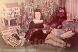 FASHIONABLE WIFE UNDER THE CHRISTMAS TREE DOLLHOUSE & PRESENTS VINTAGE PHOTO - K-townConsignments