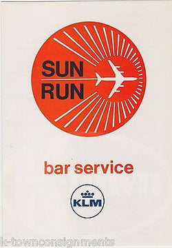 KLM ROYAL DUTCH AIRLINE VINTAGE SUN RUN GRAPHIC ADVERTISING BAR DRINKS MENU - K-townConsignments