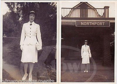 WWII WAVES WOMAN IN UNIFORM NORTHPORT NY VINTAGE MILITARY SNAPSHOT PHOTOGRAPHS - K-townConsignments
