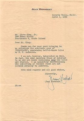 JEAN HERSHOLT SHIRLEY TEMPLE COSTAR MOVIE ACTOR AUTOGRAPH SIGNED LETTER 1953 - K-townConsignments