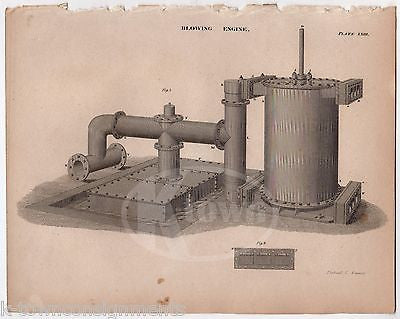 EARLY INDUSTRIAL EXHAUST BLOWING MACHINE ANTIQUE GRAPHIC ENGRAVING PRINT 1832 - K-townConsignments