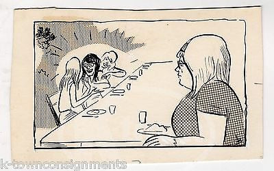 POPULARITY MEAN GIRLS AT THE LUNCH TABLE ORIGINAL INK SKETCH BY WWII PROP ARTIST - K-townConsignments