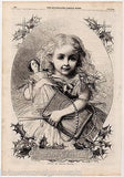 CUTE LITTLE GIRL & ANTIQUE DOLL CHRISTMAS PRESENTS GRAPHIC ENGRAVING PRINT 1862 - K-townConsignments