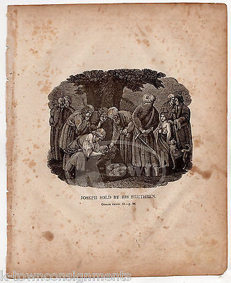 GENESIS 37:28 JOSEPH SOLD INTO SLAVERY ANTIQUE BIBLE ENGRAVING PRINT 1846 - K-townConsignments