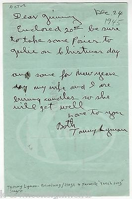 TOMMY LYMAN TORCH SONG SINGER & STAGE ACTOR AUTOGRAPH SIGNED CHRISTMAS LETTER - K-townConsignments