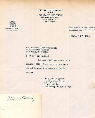 THOMAS DEWEY AUTOGRAPH SIGNED CARD WITH ORIGINAL NY DISTRICT ATTORNEY LETTERHEAD - K-townConsignments