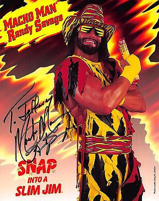 MACHO MAN RANDY SAVAGE VINTAGE AUTOGRAPH SIGNED SLIM JIM JUMBO ADVERTISING CARD - K-townConsignments