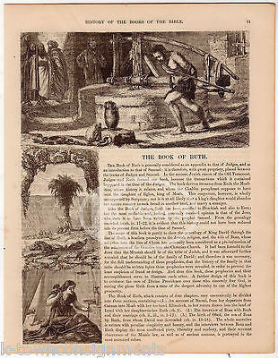 The Book of Ruth Antique Christian Bible Stories Graphic Art Engraving Print - K-townConsignments