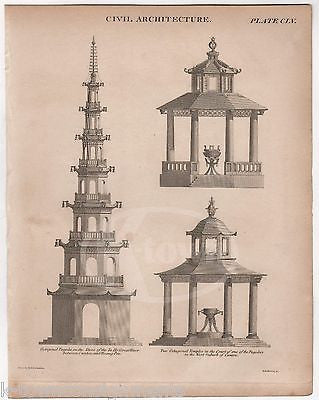 TA-HO PAGODA CANTON TEMPLES ANTIQUE CHINESE ARCHITECTURE ENGRAVING PRINT 1832 - K-townConsignments