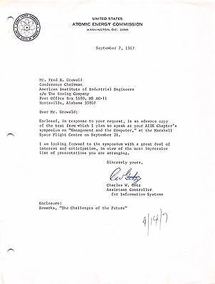 CHARLES GETS ATOMIC ENERGY COMMISSION VINTAGE AUTOGRAPH SIGNED NASA LETTER 1967 - K-townConsignments