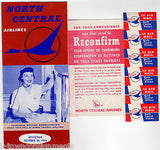 NORTH CENTRAL AIRLINES VINTAGE GRAPHIC ADVERTISING FLIGHT PACKET WITH FLYERS - K-townConsignments