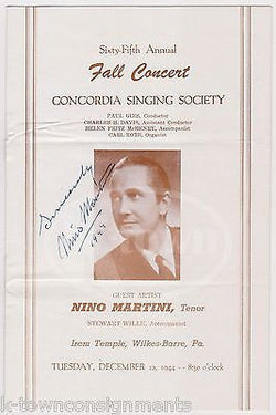 NINO MARTINI ITALIAN OPERA SINGER VINTAGE AUTOGRAPH SIGNED WWII CONCERT PROGRAM - K-townConsignments