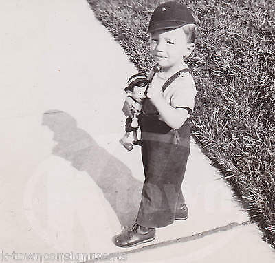 CUTEST LITTLE BOY & PINOCCHIO DOLL CLASSIC AMERICANA VINTAGE SNAPSHOT PHOTO - K-townConsignments