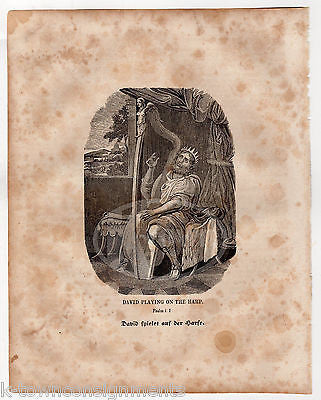 PSLAM 1 ISREAL'S KING DAVID PLAYING THE HARP ANTIQUE BIBLE ENGRAVING PRINT 1829 - K-townConsignments