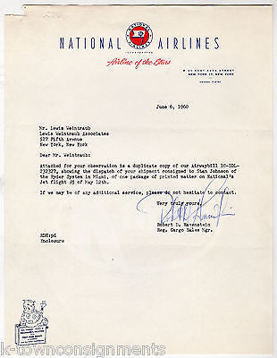 NATIONAL AIRLINES CARGO SALES VINTAGE AUTOGRAPH SIGNED AIRLINE LETTERHEAD 1960 - K-townConsignments