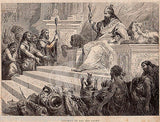 King Solomon in All His Glory Religious Art Antique Bible Engraving Print - K-townConsignments