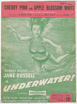 HOWARD HUGHES UNDERWATER MOVIE JANE RUSSELL GRAPHIC ILLUSTRATED SHEET MUSIC 1950 - K-townConsignments