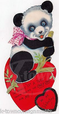 CUTE FUZZY PANDA BEAR VINTAGE GRAPHIC ART VALENTINE'S DAY GREETING CARD - K-townConsignments