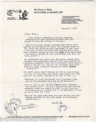 MURRAY HARRIS GRAPHIC ART COLLECTOR VINTAGE AUTOGRAPH SIGNED LETTER W/ SKETCH - K-townConsignments