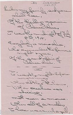 EMILY HOWARD SUFFRAGE TEMPERANCE & PEACE BLACK EDUCATION HERO ORIGINAL POEM 1918 - K-townConsignments