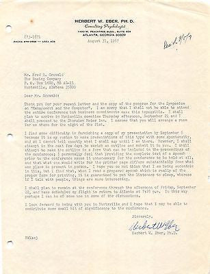 DR. HERBERT EBER NASA PSYCHOLOGIST AUTOGRAPH SIGNED BOEING COMPANY LETTER 1967 - K-townConsignments
