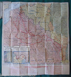KENYON'S WESTERN BATTLE FRONT OF EUROPE VINTAGE WWII KEYSTONE FOLD-OUT MAP - K-townConsignments