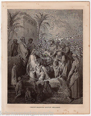 Jesus Christ Blesses the Little Children Mark 10 Antique Bible Engraving Print - K-townConsignments