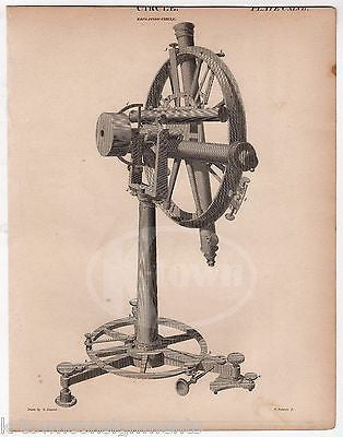 ÉTIENNE LENOIR REPEATING CIRCLE GEODETIC SURVEYING TOOL ANTIQUE ENGRAVING PRINT - K-townConsignments