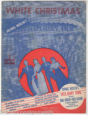 irving berlin white christmas holiday in vintage graphic song lyrics sheet music k townconsignments - White Christmas Song Lyrics