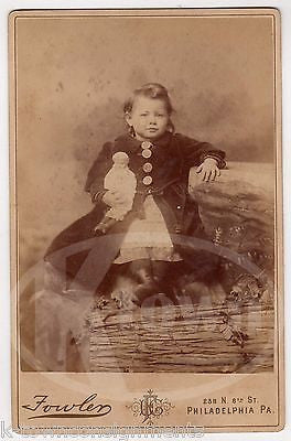CUTE LITTLE GIRL WITH UNUSUAL BLONDE PORCELAIN DOLL ANTIQUE CABINET PHOTOGRAPH - K-townConsignments
