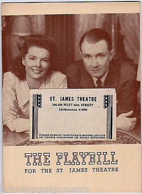 KATHERINE HEPBURN WITHOUT LOVE THEATRE ACTRESS VINTAGE PLAYBILL & SHOW TICKETS - K-townConsignments
